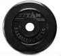 Диск 15 кг, обрезиненный черный, отверстие 51 мм.